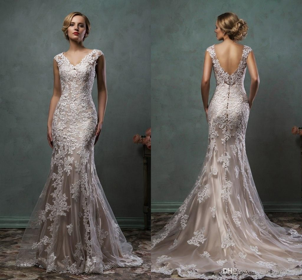 2016 amelia sposa wedding dresses vintage v neck lace for Wedding dress lace overlay