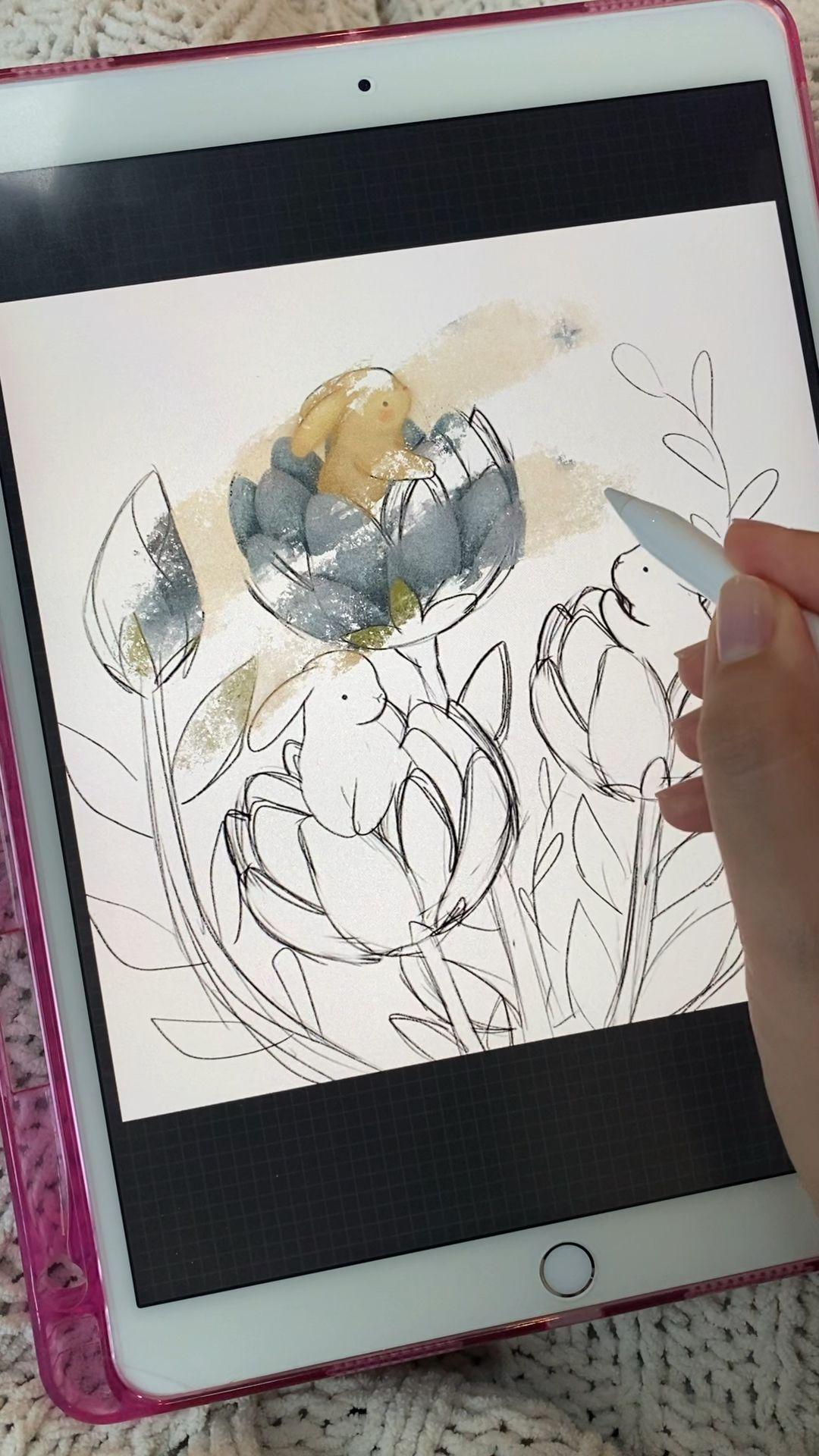 Bunny flower buds illustration