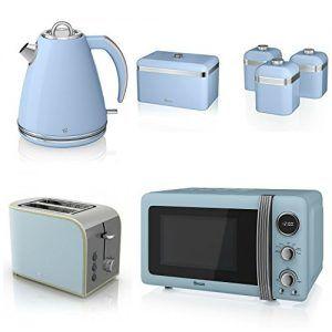 Swan Kitchen Appliance Retro Set – 20L Blue Microwave, 1.5L jug ...