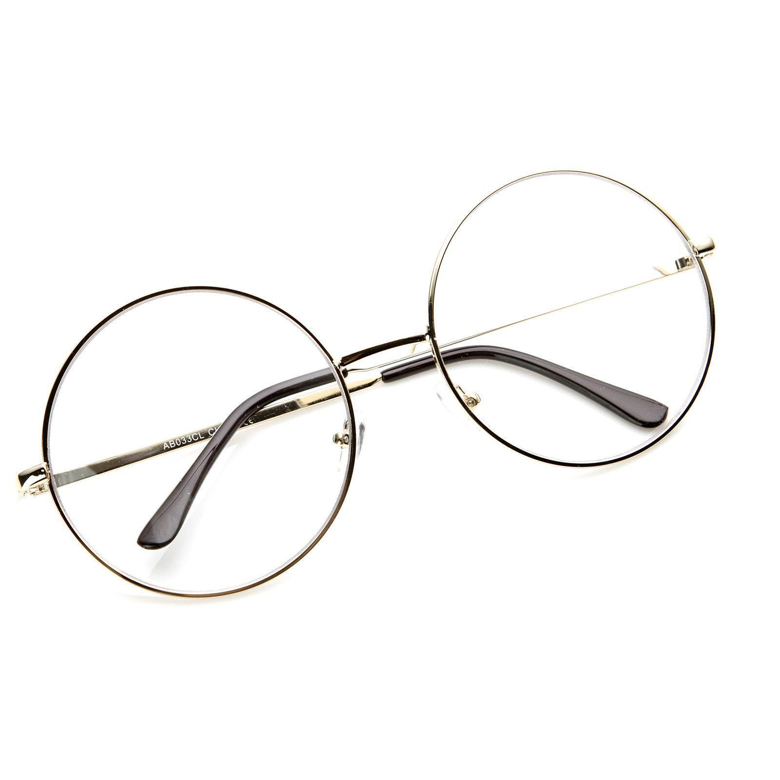 ce9bffbc279 Vintage Era Super Large Round Circle Metal Clear Lens Glasses 8714 ...