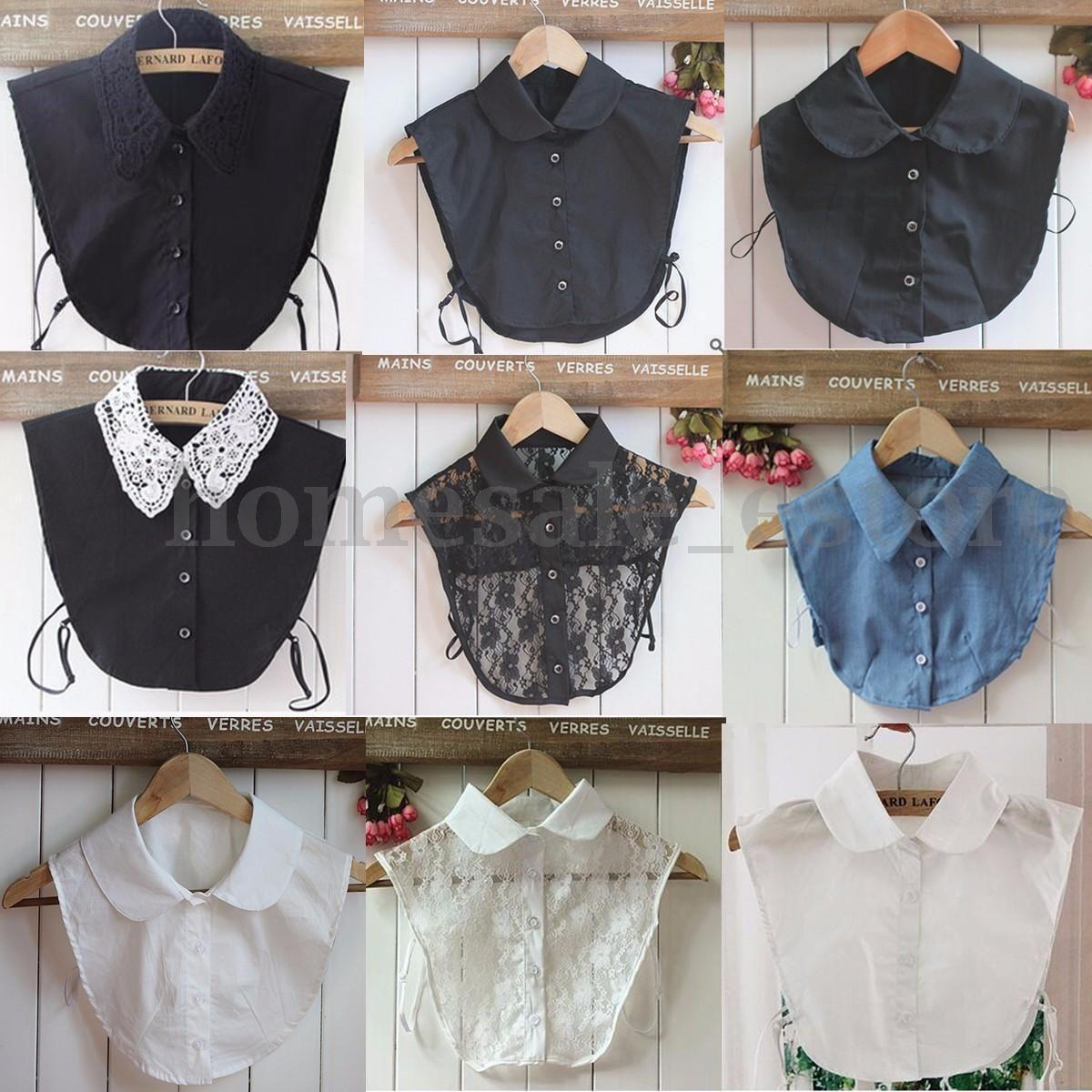 Women Solid Cotton Detachable Lapel Choker Necklace Shirt Fake False Collar EX