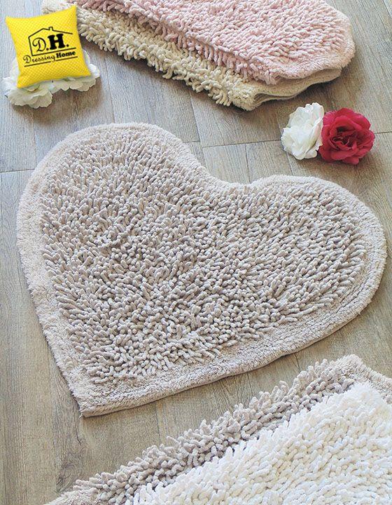 Tappeto bagno a forma di cuore Shabby Style in colore