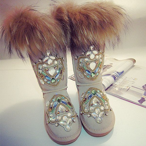 Designer Beaded Crystal Furry Shiny Mid Calf Fur Lining Boots For Women - NewChic