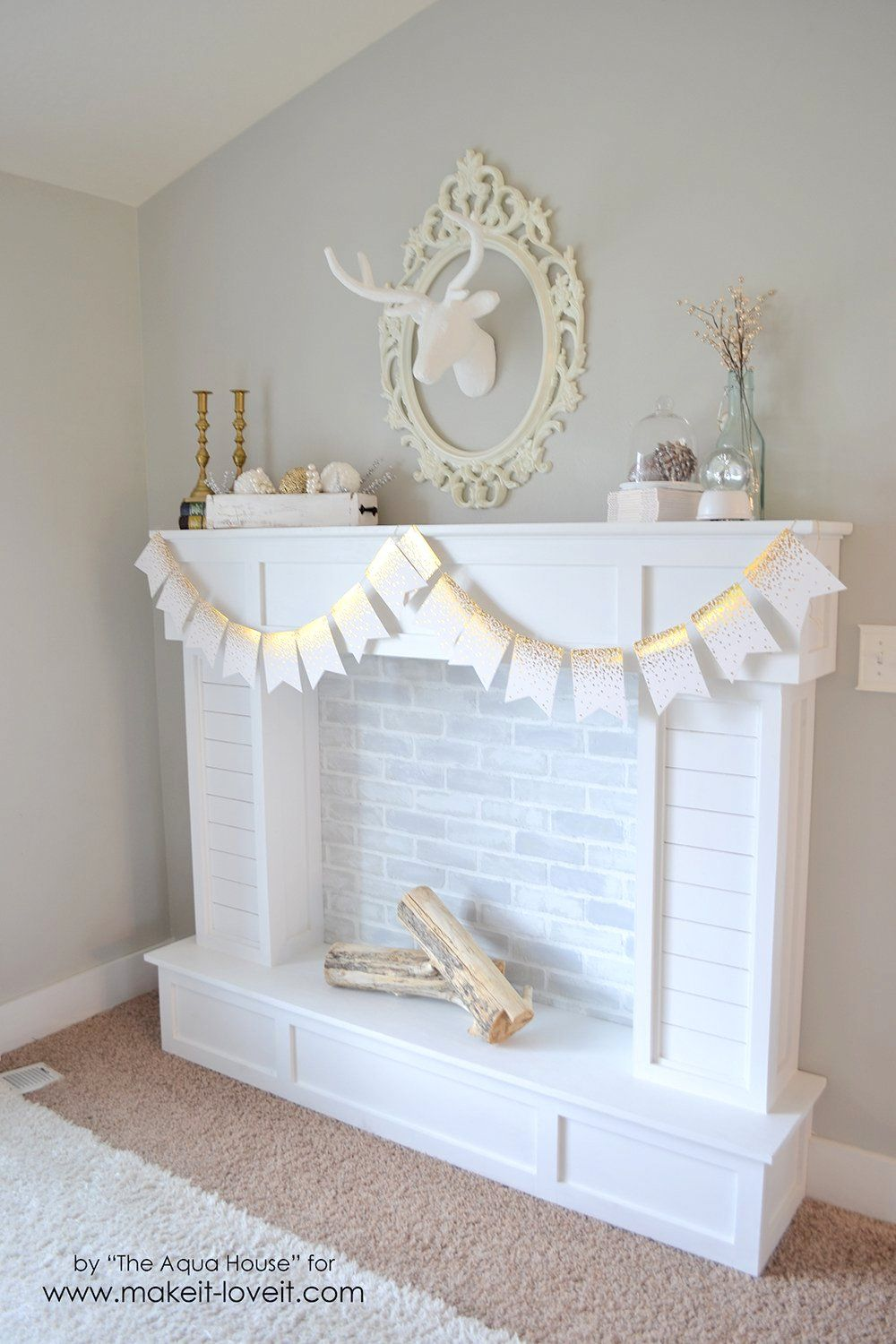 Make a FAUX FIREPLACE WITH HEARTH…that looks absolutely
