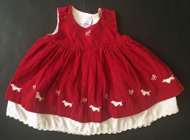 982e9450f Baby Gap Red Corduroy Holiday Dress Newborn 17-22 Lbs White ...