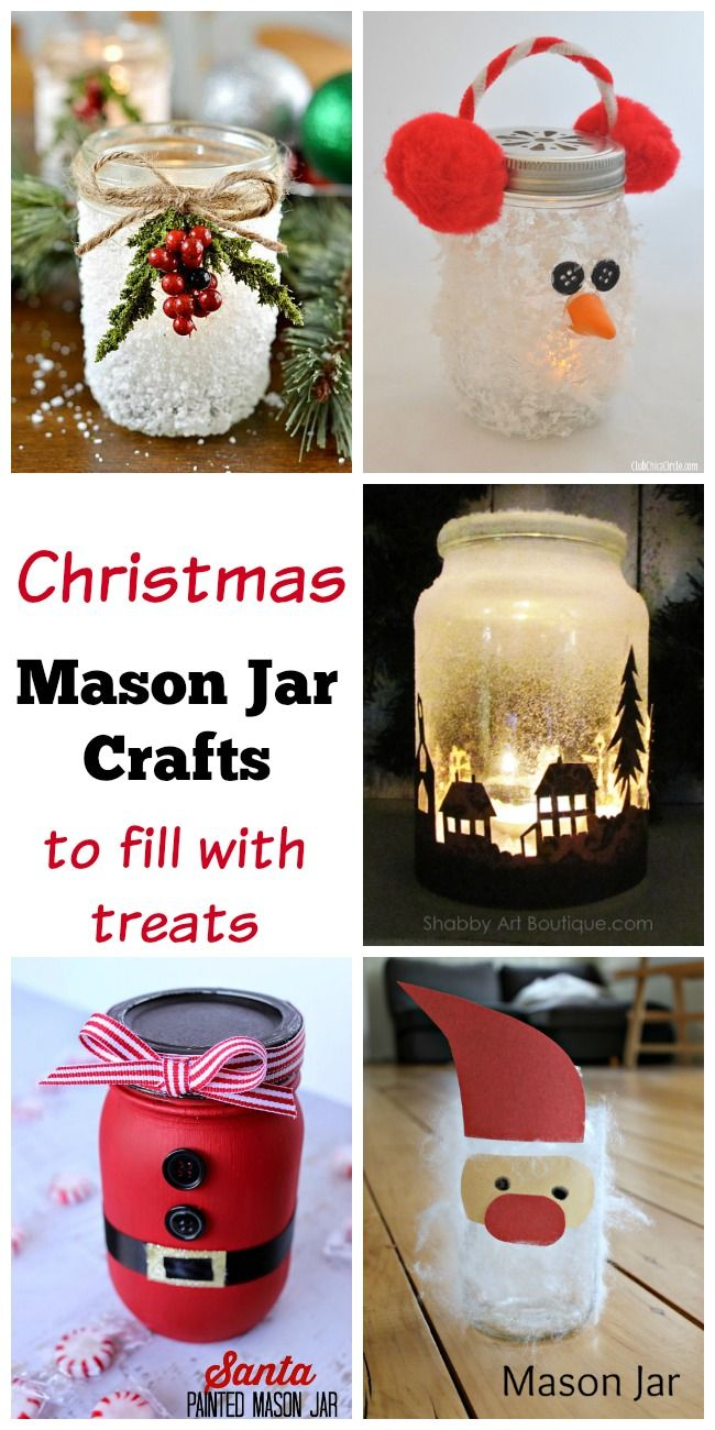 How Cute Are All These Christmas Mason Jar Crafts I Can T Wait To Make Them And Fill With Treats Give Away As Gifts