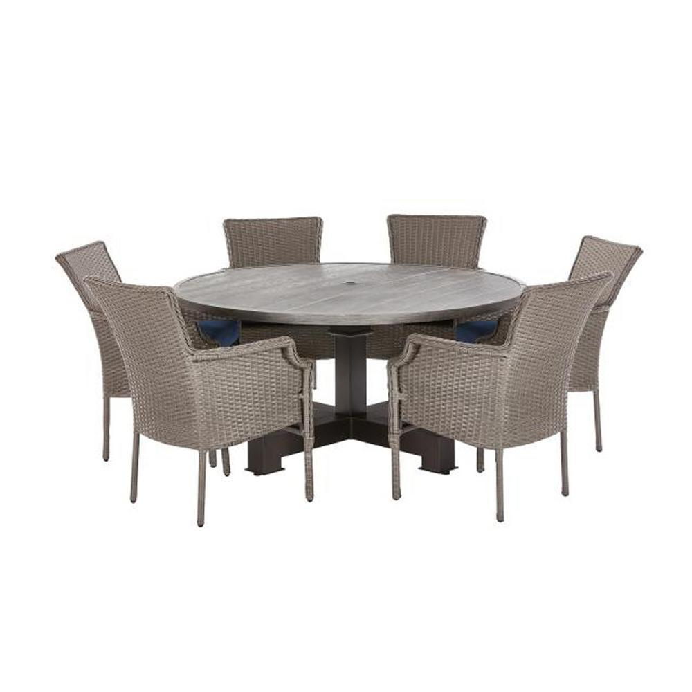 Hampton Bay Grayson 7 Piece Ash Gray Wicker Outdoor Patio Dining Set With Standard Midnight Navy Blue Cushions D19002 Newset The Home Depot Round Outdoor Dining Table Round Patio Table Patio Dining Set Round table patio dining sets