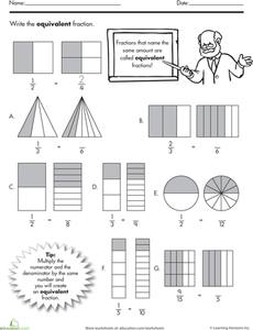 Equivalent Fractions Fractions Worksheets Fractions Math Fractions