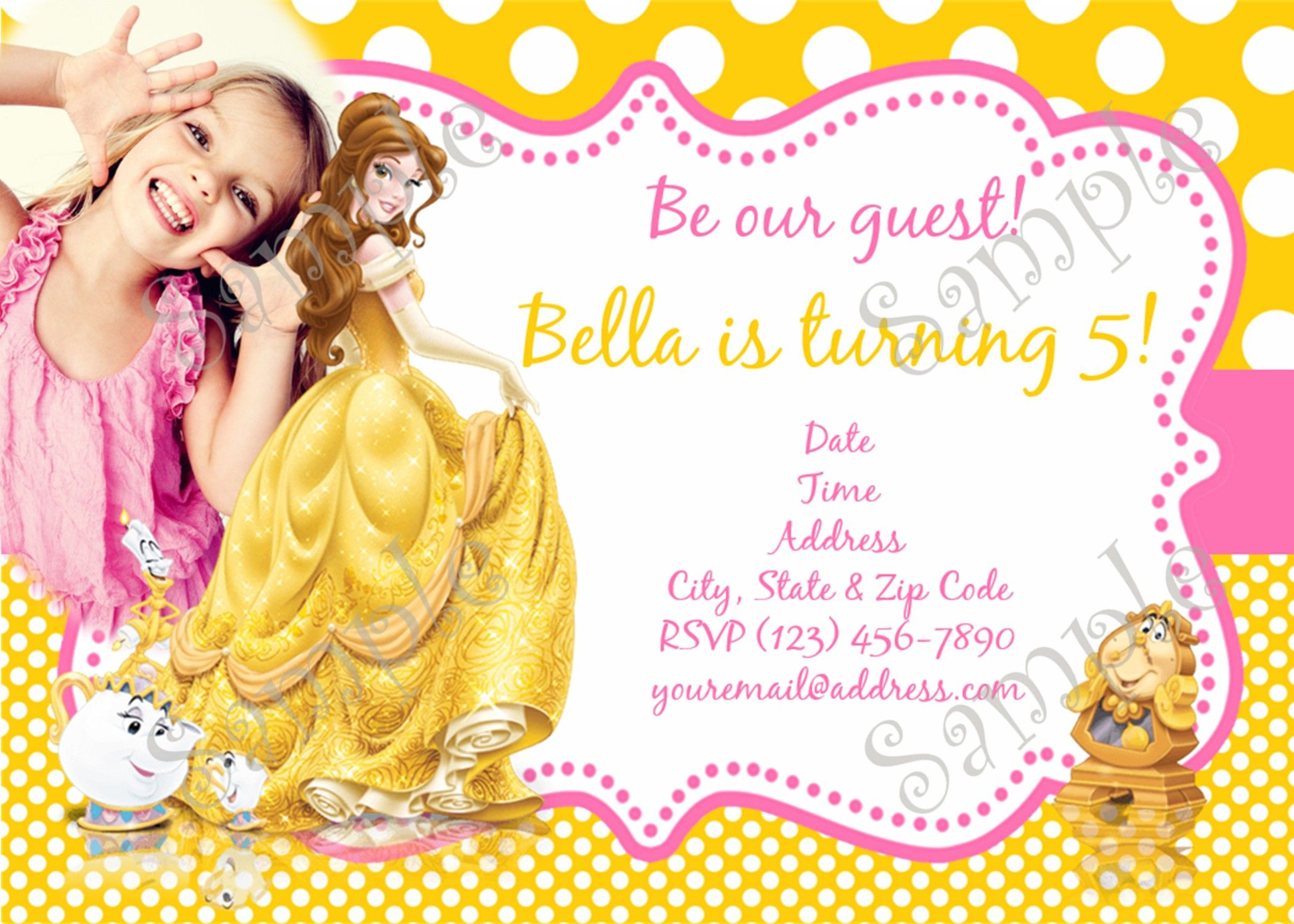 Belle birthday party, Belle Invitation, Beauty and the beast ...