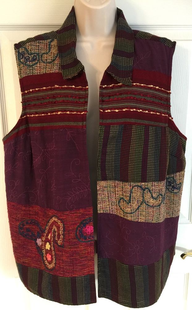 CJ Banks 2X Vest Artsy Tapestry Embroidered Patch Work Multi Color Open Front  | eBay