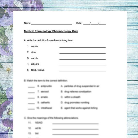 Medical Terminology Pharmacology Quiz with Answer Key ...
