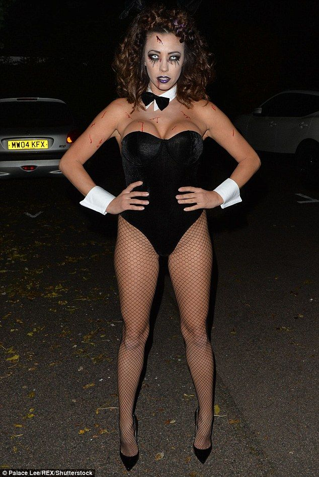 pascal craymer 29 stripped to just a velvet leotard and fishnet tights as she transformed into a zombie playboy bunny for halloween celebrations on friday