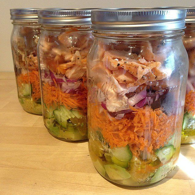 For a protein punch, this mason-jar salad is made with wild salmon, as well as beets, red onion, carrots, cucumber, orange, and avocado. Source: Instagram user cave_shrimp