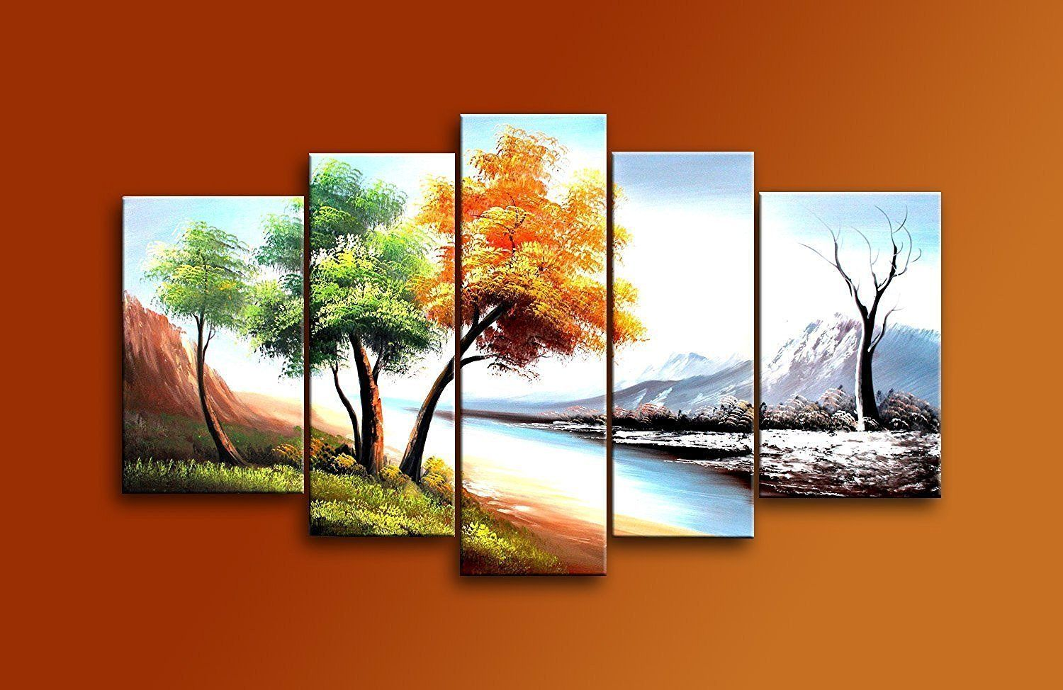 Ode Rin Art Christmas Gift Four Seasons Landscape Modern Abstract Wall Art Hand Painted Oil Paintings Modern Abstract Wall Art Oriental Artwork Canvas Painting