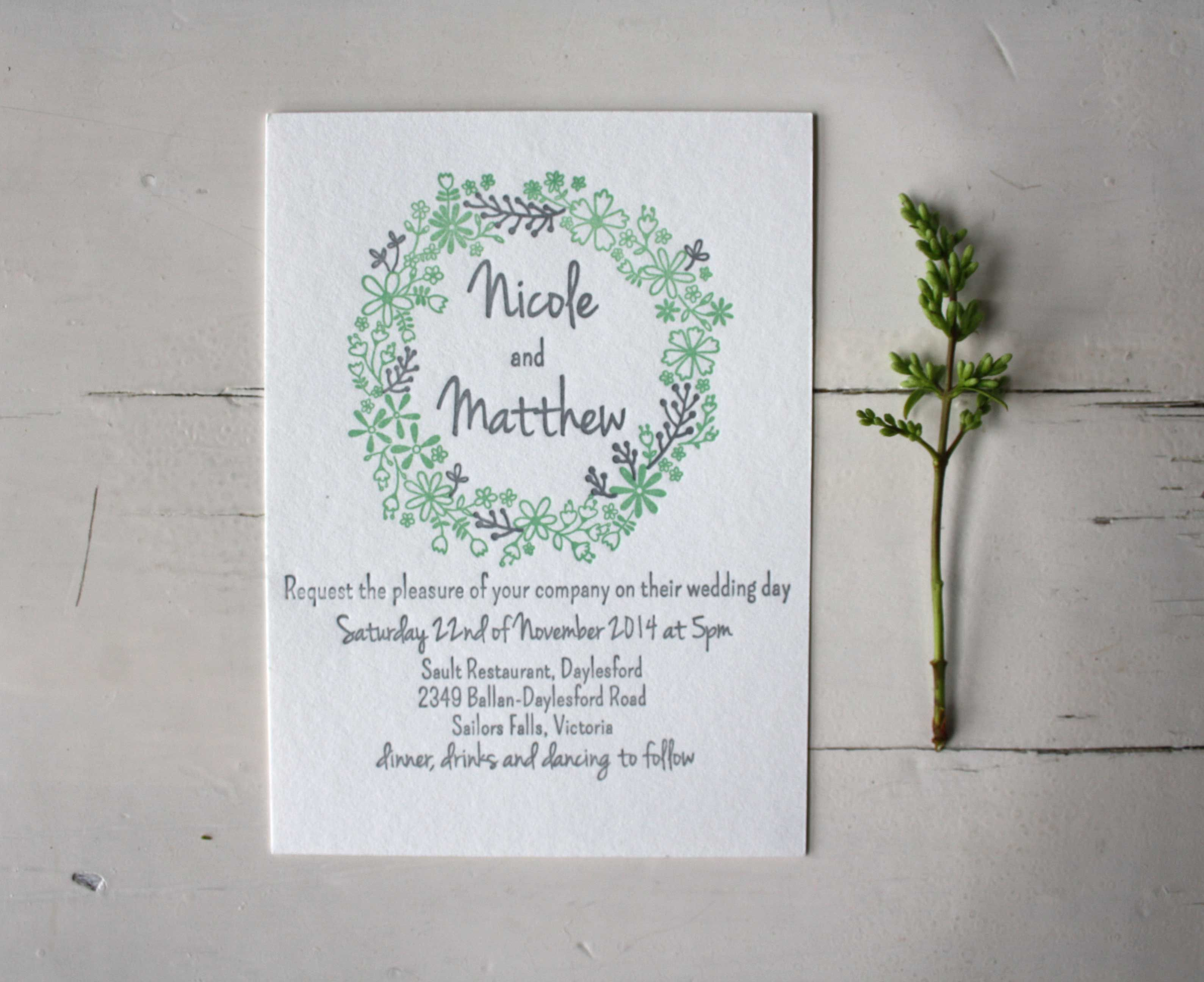 Be inspired by this Spring Themed Floral Letterpress Wedding invitation created and printed by www.cocopress.com.au