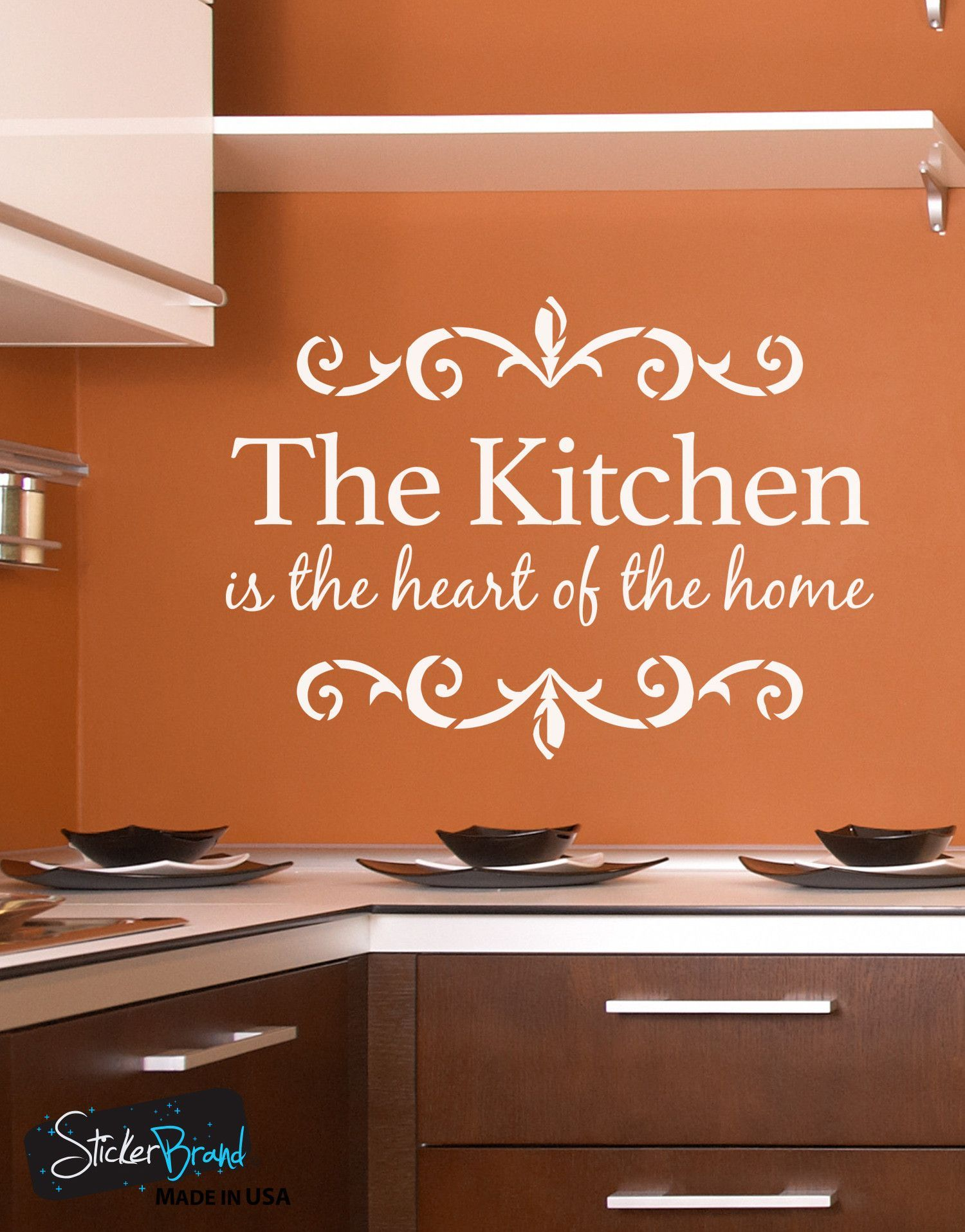 the kitchen is the heart of the home quote vinyl wall decal 6079 vinyl wall decals wall on kitchen decor quotes wall decals id=64710