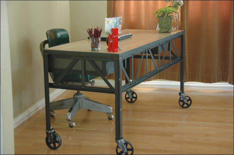 industrial furniture wheels. Royston French Industrial Desk On Casters / Vintage Work Table Office Furniture Wheels U