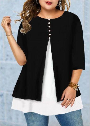 Photo of Front Slit Button Detail Plus Size T Shirt | modlily.com – USD $28.68