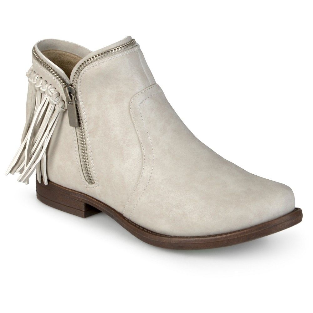 Unique Design Journee Collection Womens Fringe Ankle Boots Stone