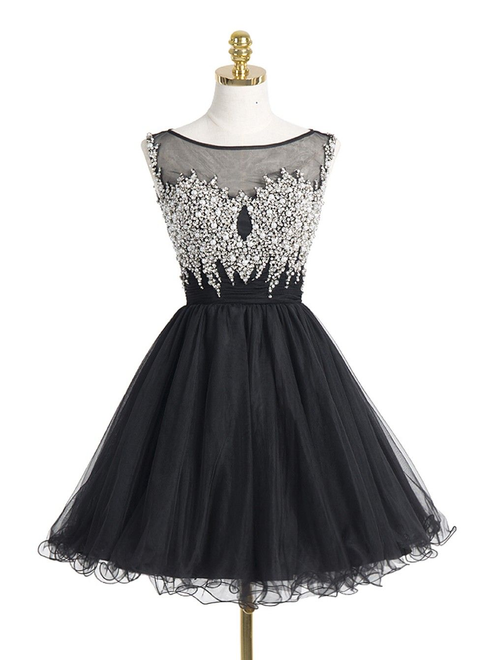 Scoop neck Short Black Tulle Homecoming Dresses Crystals Women Party Dresses