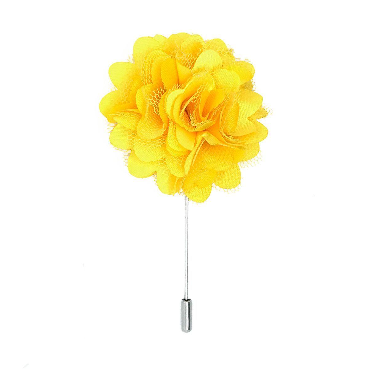 Mens Flower Lapel Pin Bright Yellow Silk And Mesh Carnation