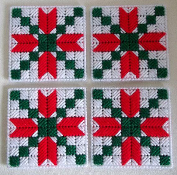 Plastic Canvas Christmas Coaster Patterns.Christmas Coasters Plastic Canvas Holiday By