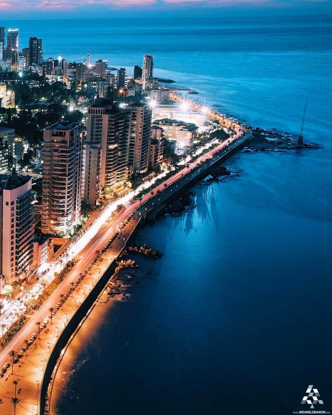 A beautiful shot taken from above for #Beirut seafront avenue By ...