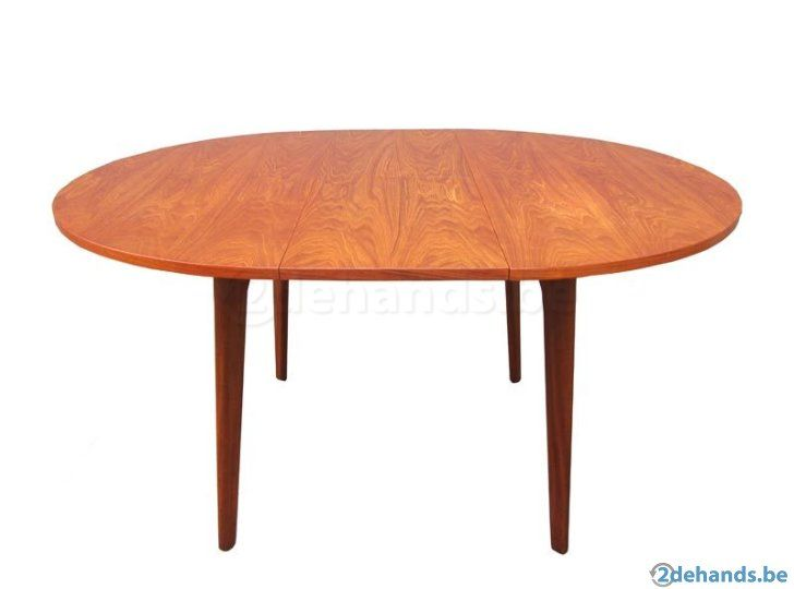 Vintage ronde tafel uitschuifbaar soekis