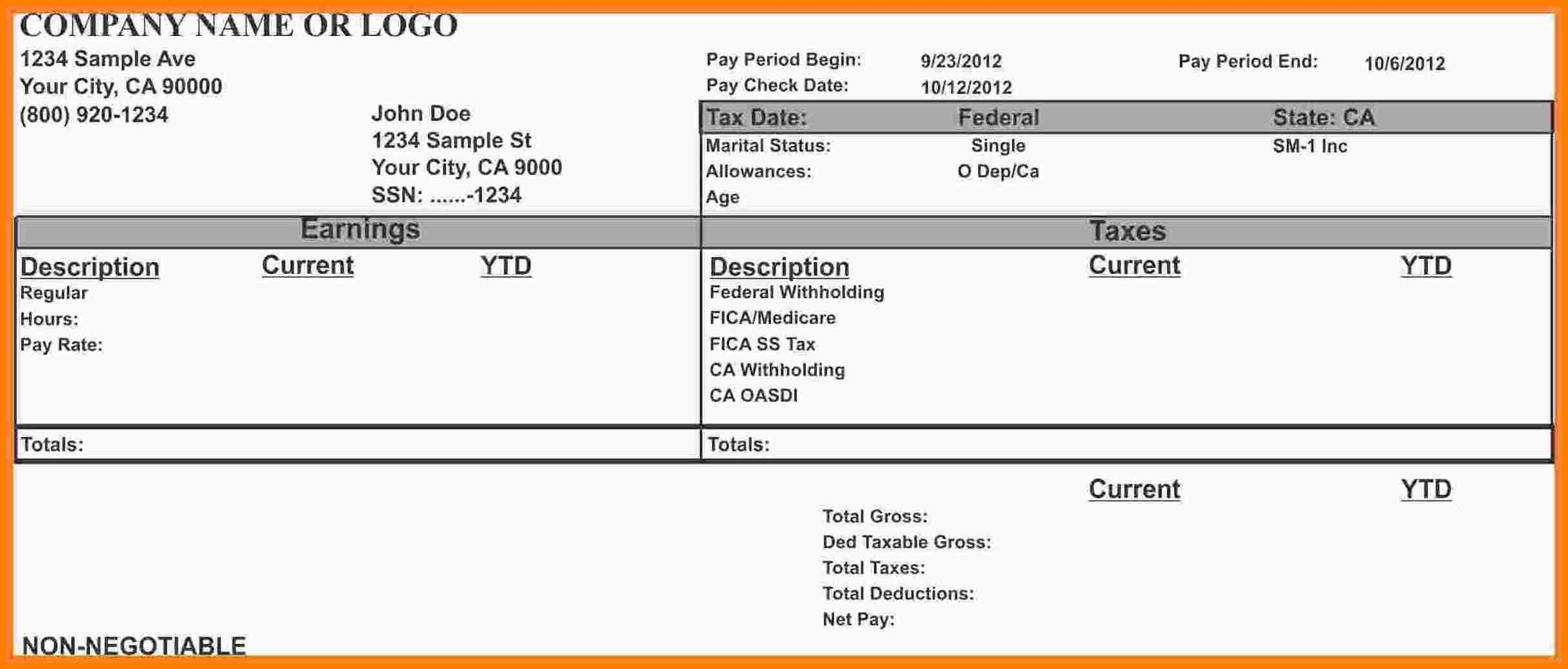 Pin On Payroll Template