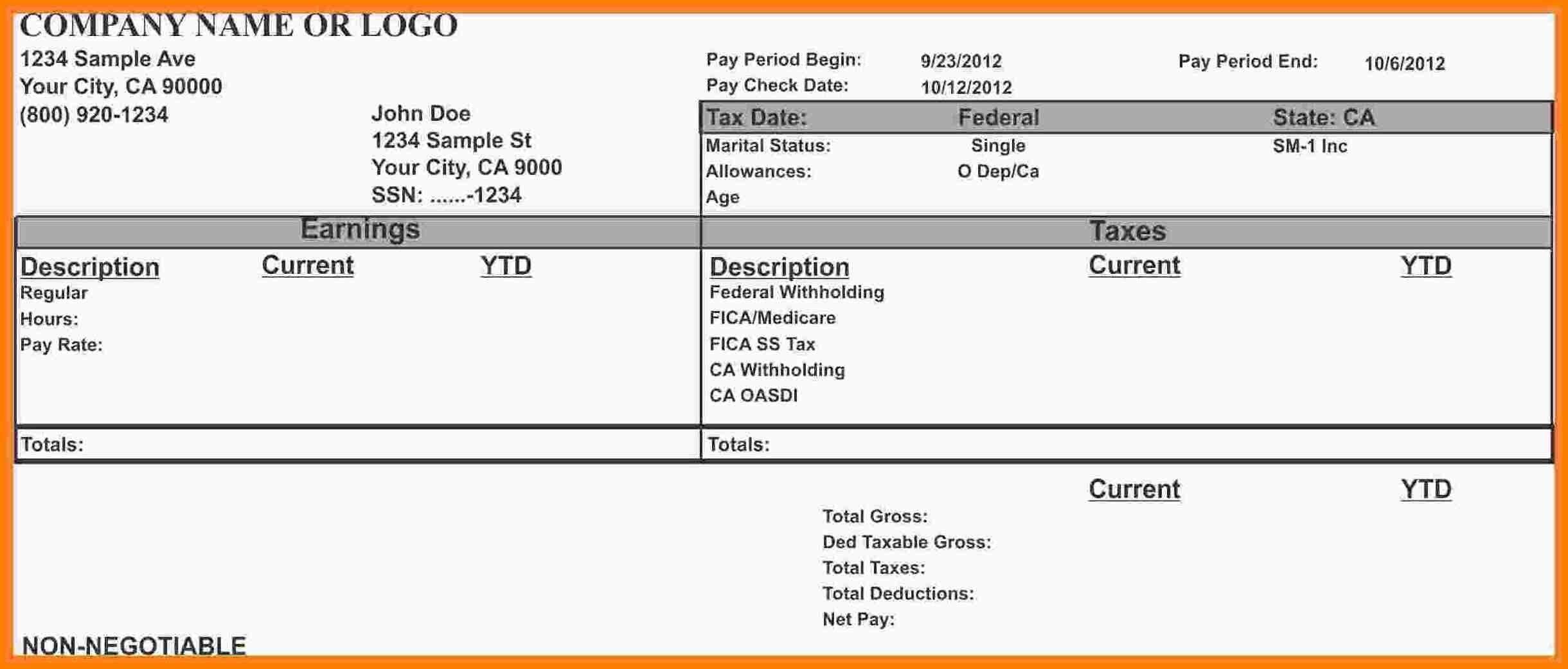 29 Free Payroll Templates Payroll Template Payroll Checks Statement Template