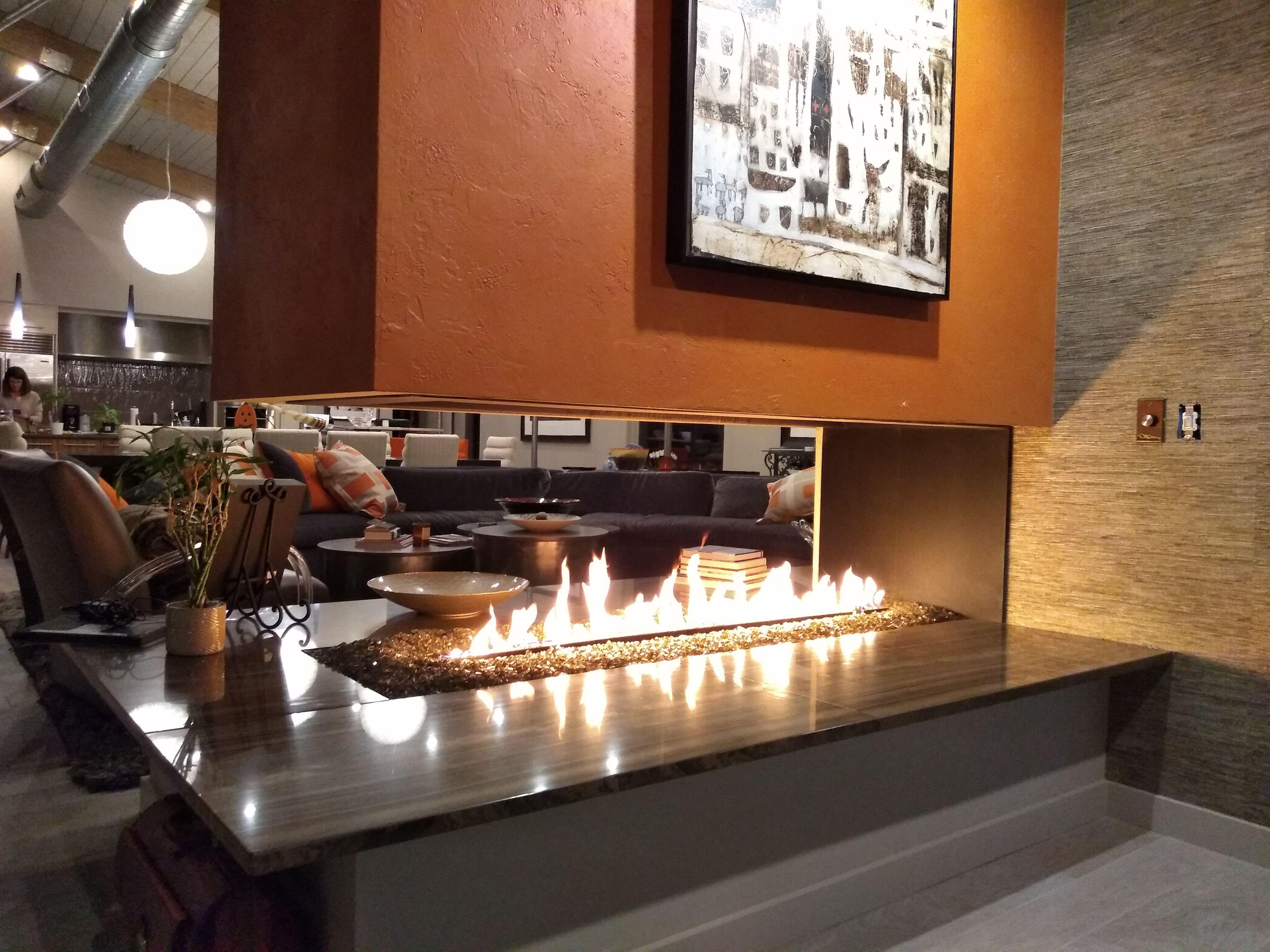 Custom peninsula gas fireplace acucraft fireplaces