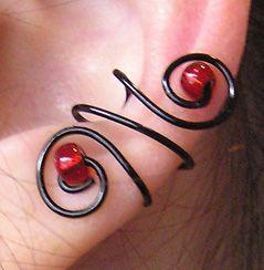 Red and Black Ear Cuff Set by lavadragon on DeviantArt