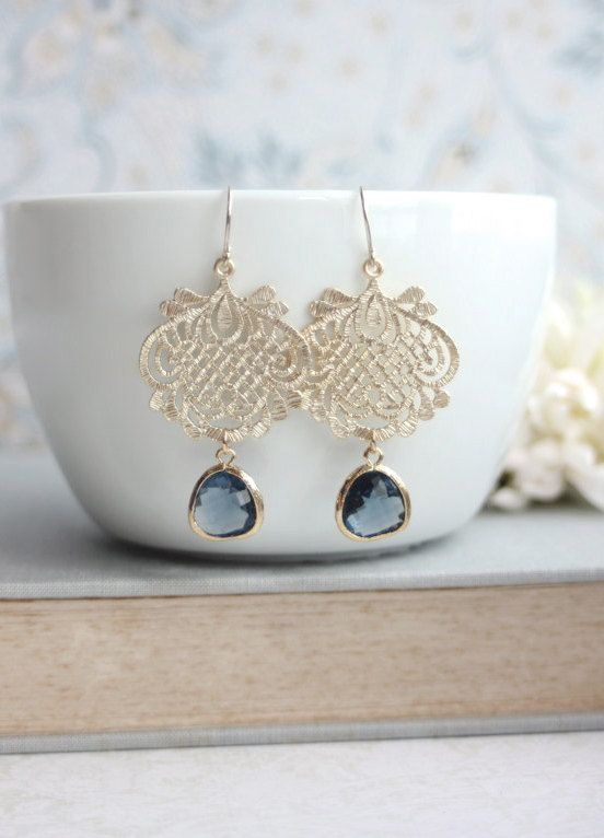 ae64526ce Navy Blue Gold Earring, Blue Lace Earrings. Gold Lace Earrings Something  Blue Wedding Blue Wedding Jewelry Bridesmaids Gift, Bridal Earrings in 2019  ...