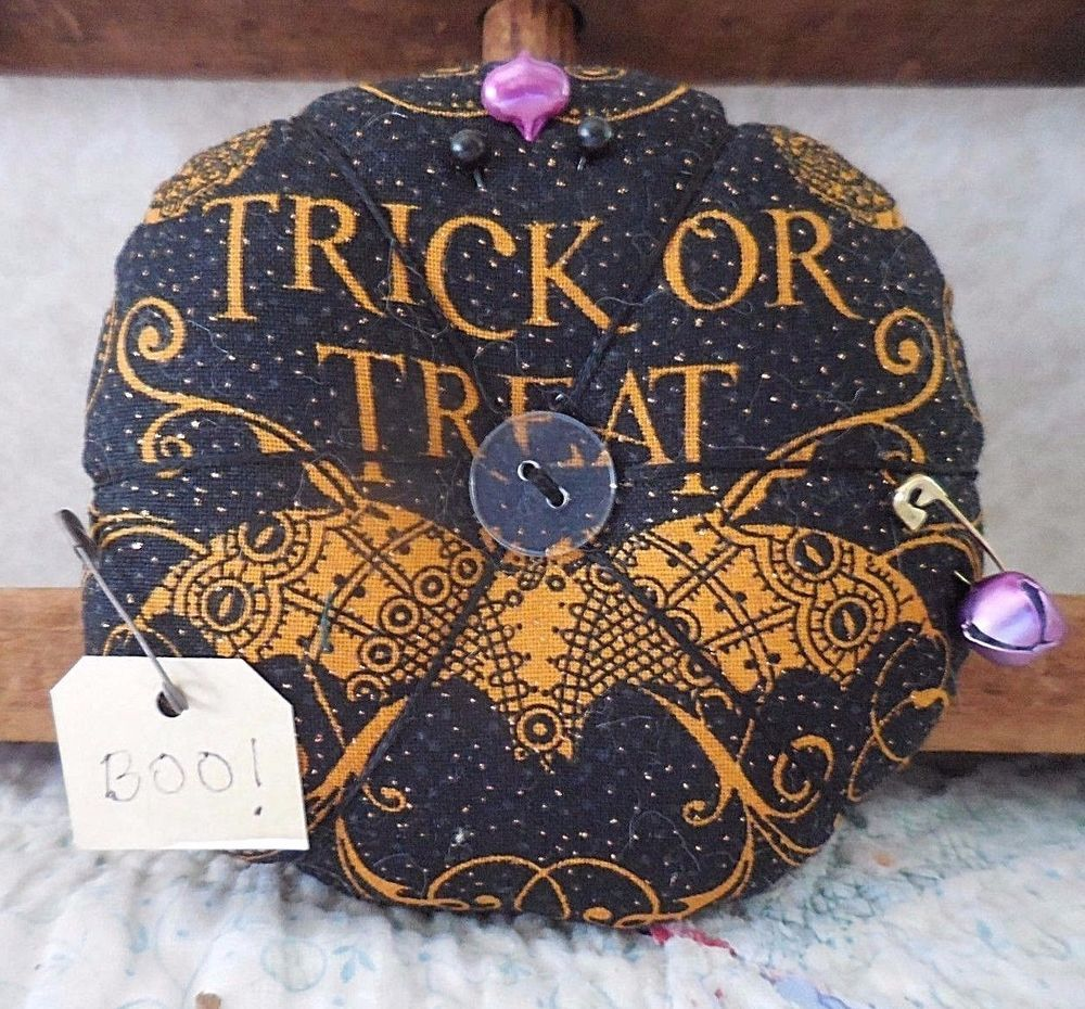 Primitive HALLOWEEN Decor Pin Cushion Trick Or Treat BAT Pin Keep - Primitive Halloween Decor