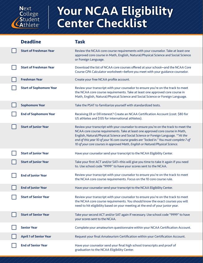 NCAA Eligibility Center Checklist #college #education #