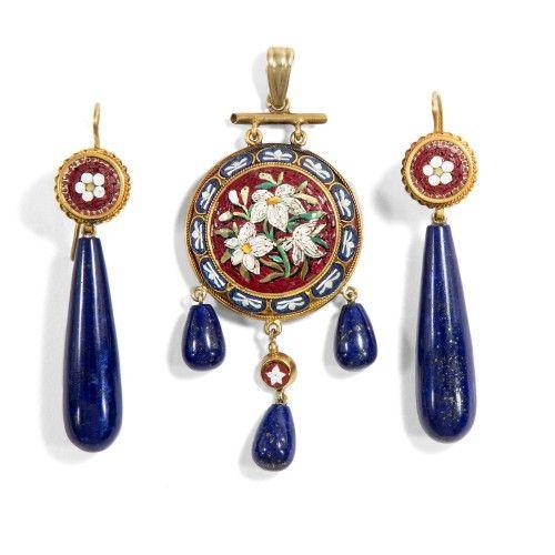Italian Jewelry Lapis Lazuli Online Antique Grand Tour Enamel Blind Gemstones Mosaics