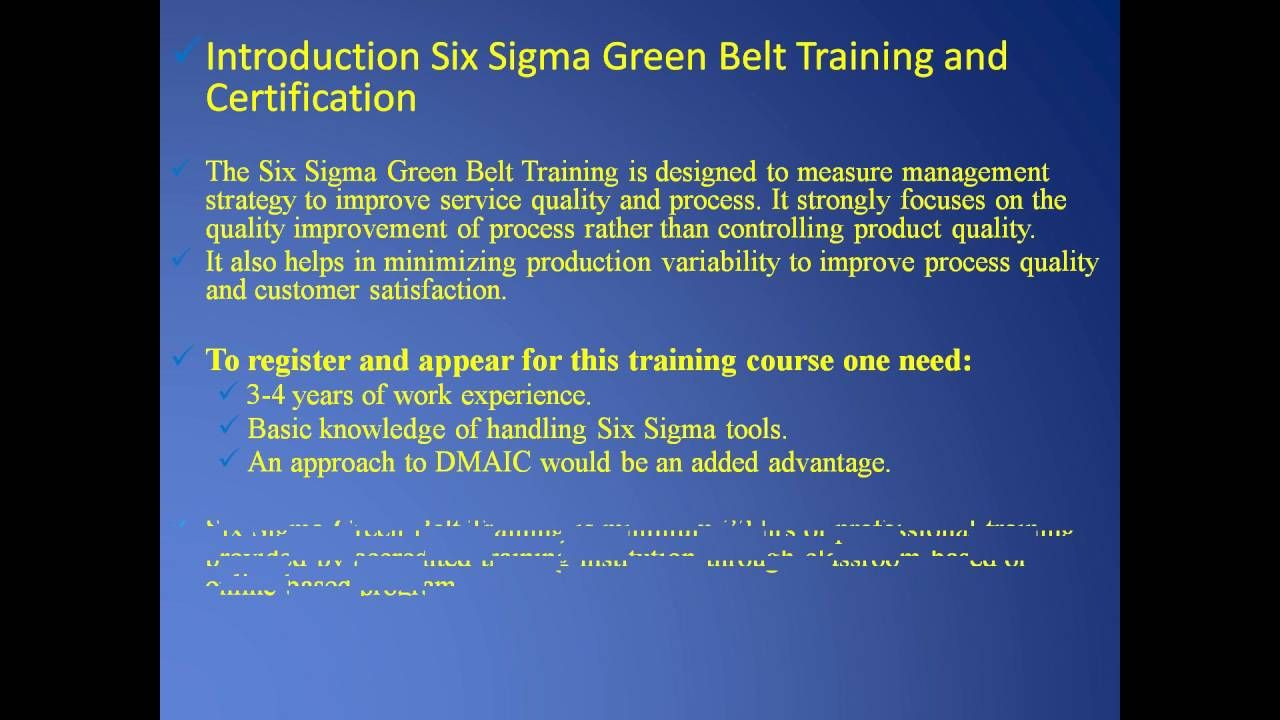 Introduction Six Sigma Green Belt Training And Certification And Six
