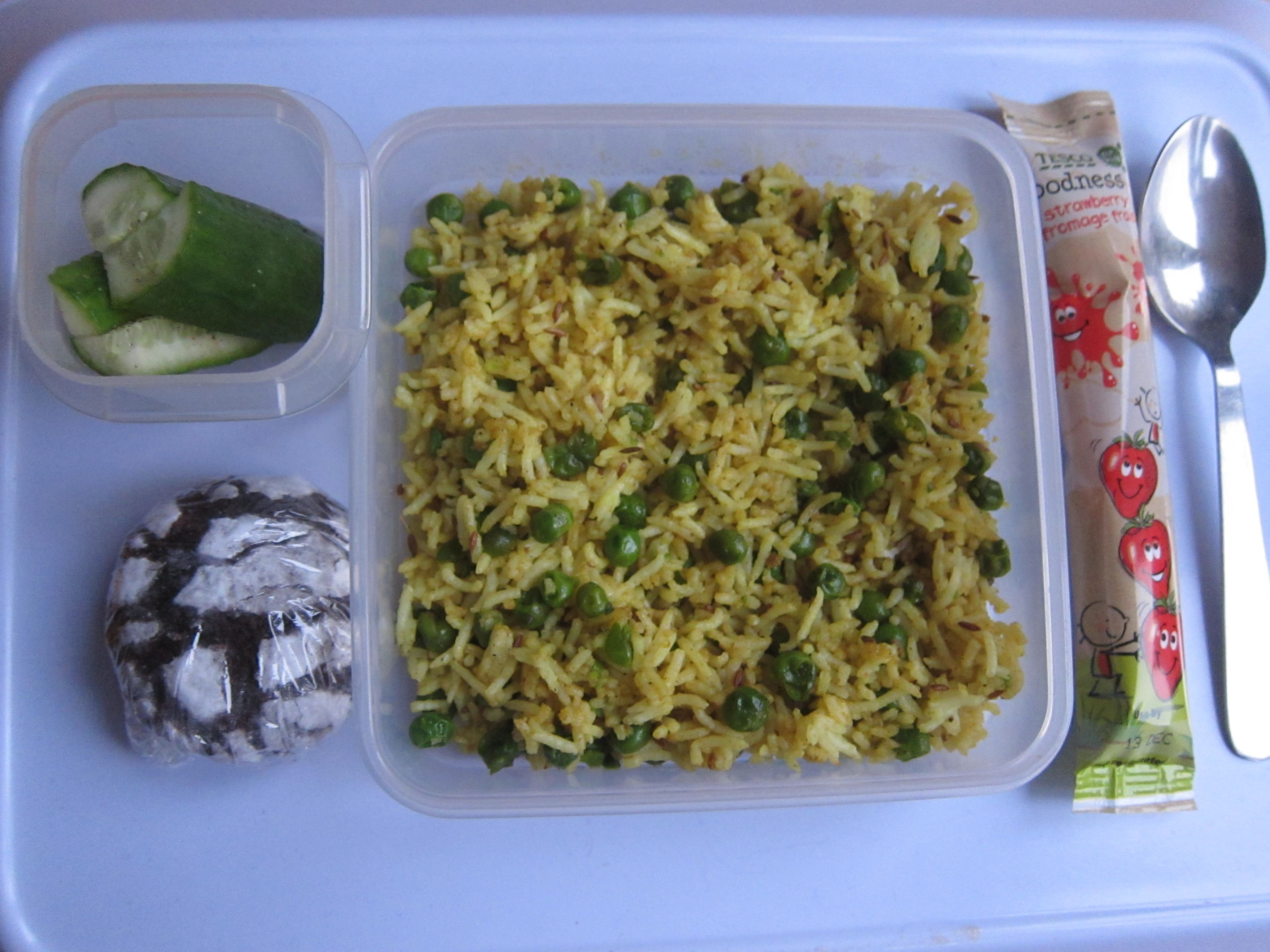 Peas And Ghee Rice With Yogurt Cuber Homemade Chocolate Crinkles Steam 1 4 Cup In Microwave For Min A Pan Add Or Er