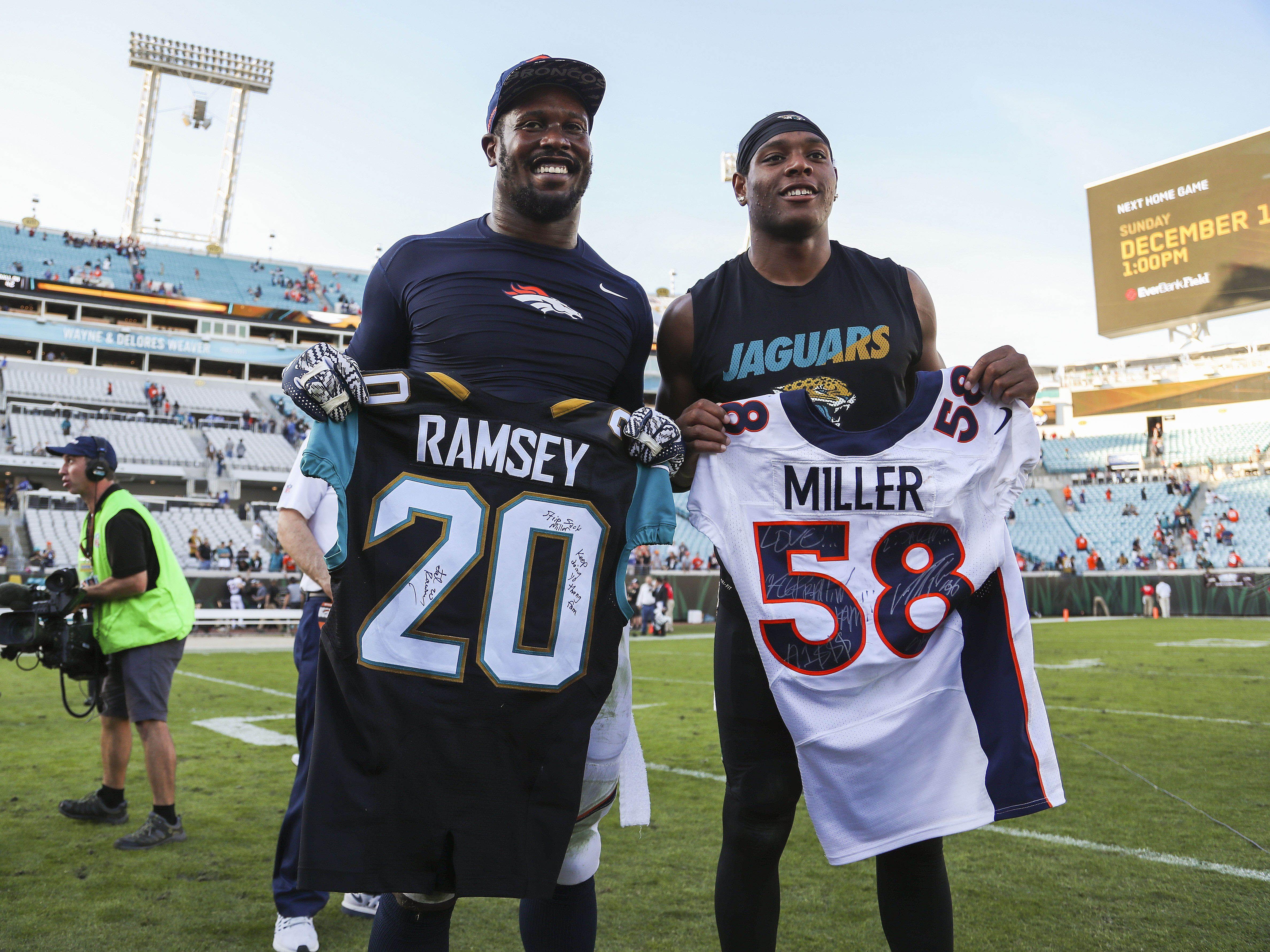 Dec 4 2016 Jacksonville Fl Usa Jacksonville Jaguars Cornerback Jalen Ramsey Right And Denver Broncos Outsid Jalen Ramsey Von Miller