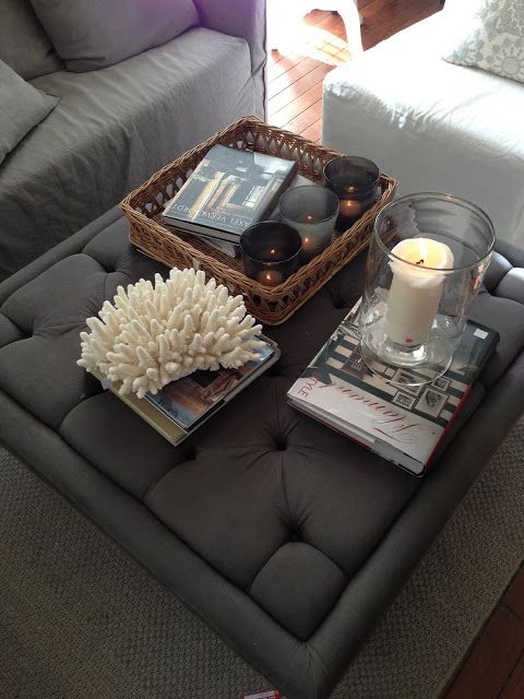 Georgica Pond Nice Vignette On Ottoman Used As A Coffee Table Small Apartment Decorating Small Apartment Decorating Living Room Small Living Room Decor Ottoman used as coffee table