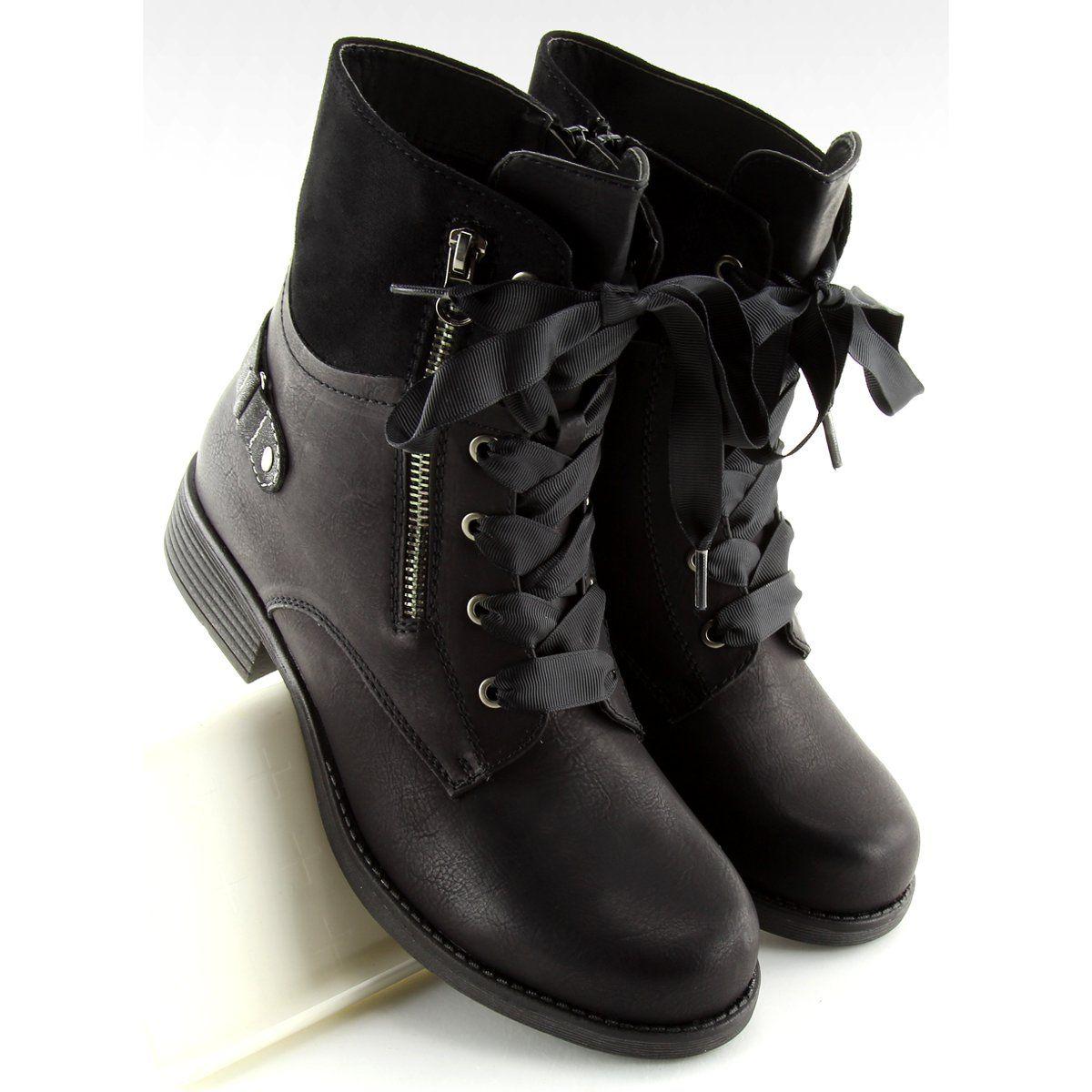 Botki Sznurowane Workery Czarne 17103 2 Black Lace Boots Bootie Boots Womens Ankle Boots
