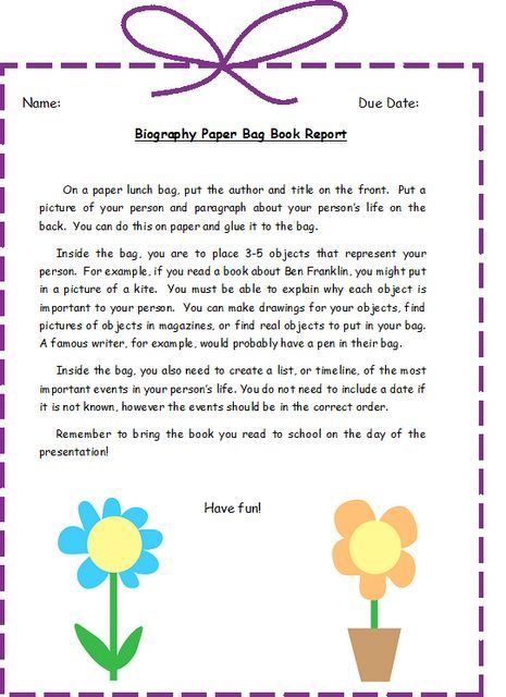 Biography Bag Project  Classroom Ideas