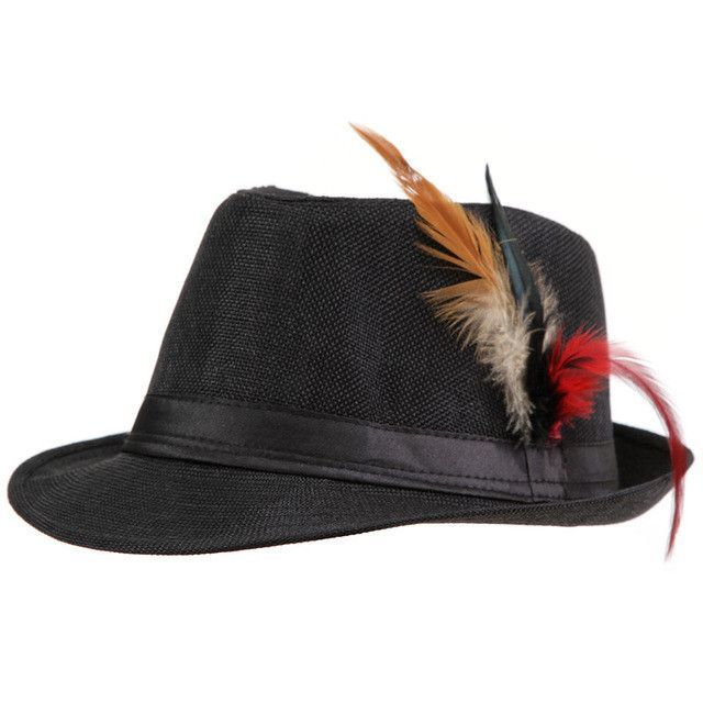 5355276563a 2015 Trendy Unisex Side with feathers Fedora Trilby Gangster Cap For Women  Summer Beach Sun Straw