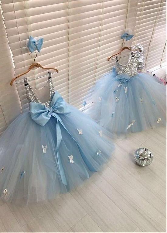 Blue baby girl dresses for birthday party dresses 2020 sequin sparkly handmade flowers cheap kids prom dress ball gown vestido de novia