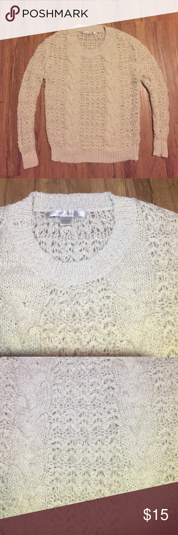 Lauren Conrad Cream color next sweater size S🍁🍂 Super cute knit cream sweater by Lauren Conrad. Label says small but it's fitted and could fit more like an xs. LC Lauren Conrad Tops Sweatshirts & Hoodies