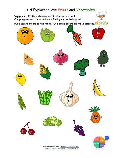 Fruit food cards for children Food images for kids to cut out and