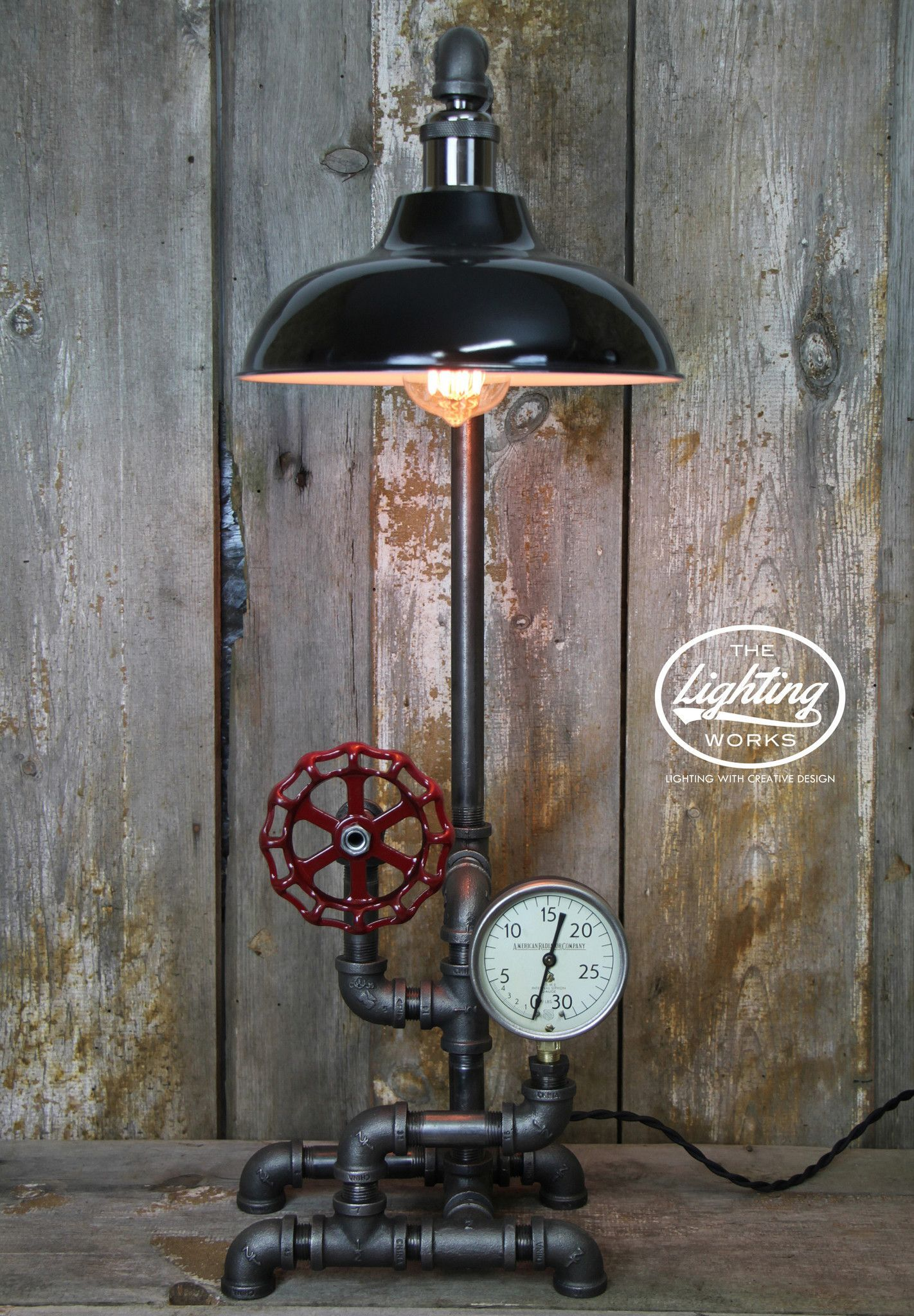 Industrial Table Lamp with a Vintage American Radiator Gauge ...