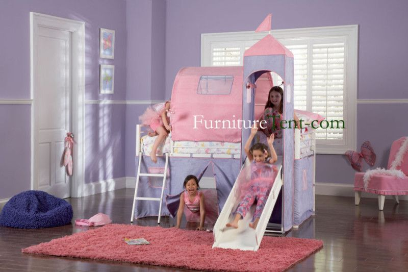 Princess Castle Twin Size Tent Bunk Bed With Slide Ebay Bunk