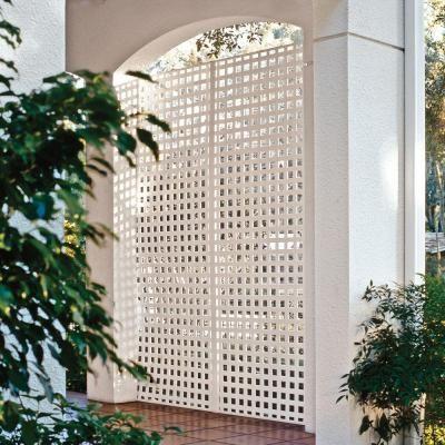 Veranda 0 2 In X 96 4 Ft White Vinyl Square Privacy Lattice 73004051 The Home Depot