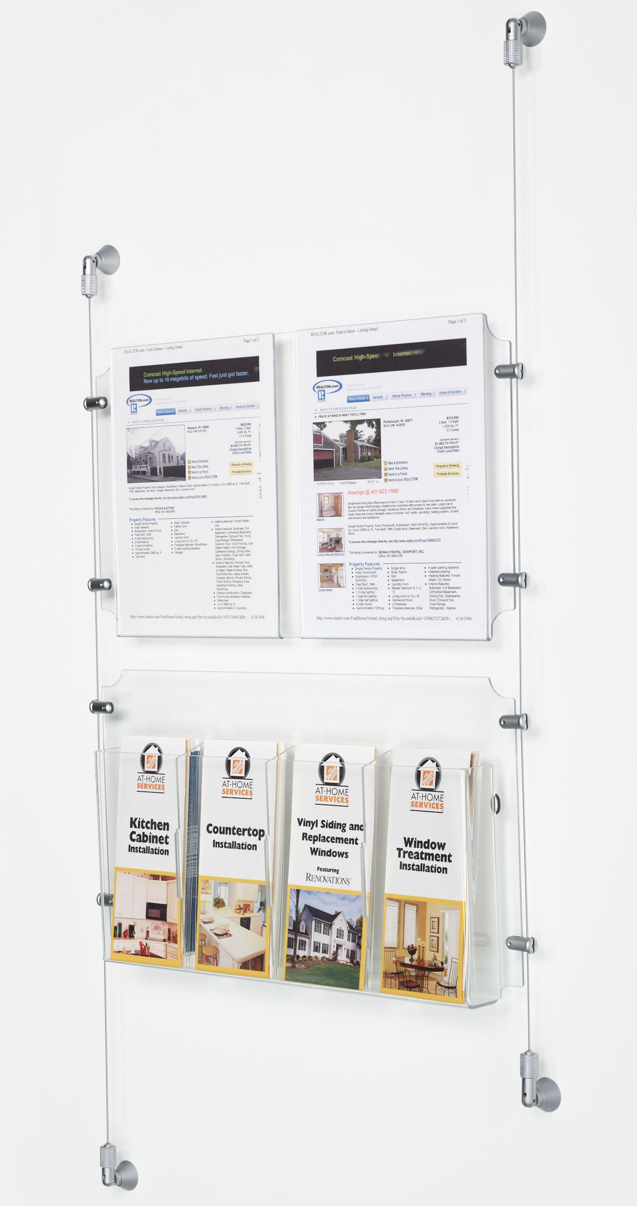 2 8 5 X 11 Sign Holder With Adjustable Literature Pockets Wall